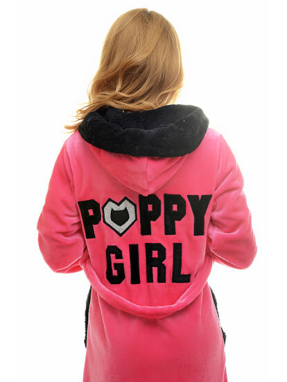 POPPY GIRL pink-fekete női köntös 470cb0b1fe