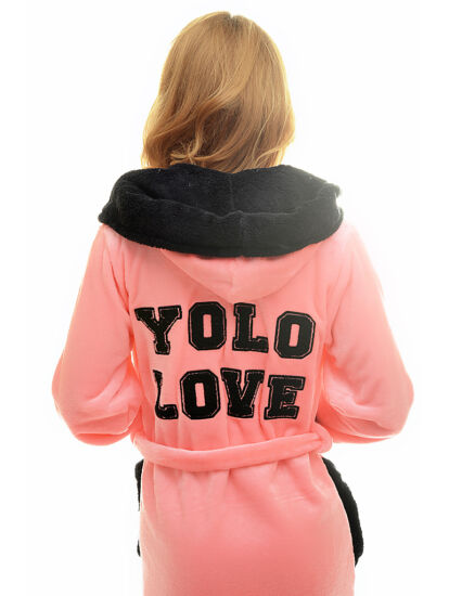 """POPPY """"YOLO LOVE"""" lazac-fekete köntös XL"""