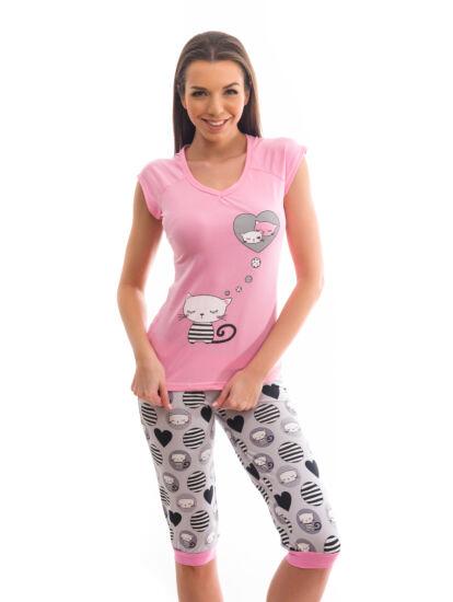 POPPY Fancy Cicás 3 4-es pizsama - közép pink-szürke 6e69e90b86
