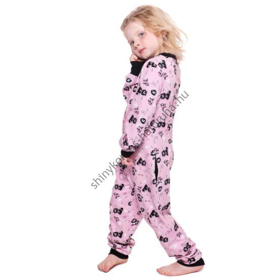 POPPY Pez Gyerek Cute Cica mintás pamut pizsama-overál