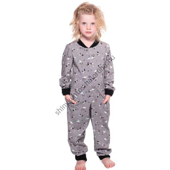 POPPY Pez Gyerek Frenchie Bulldog Kutya mintás pamut pizsama-overál