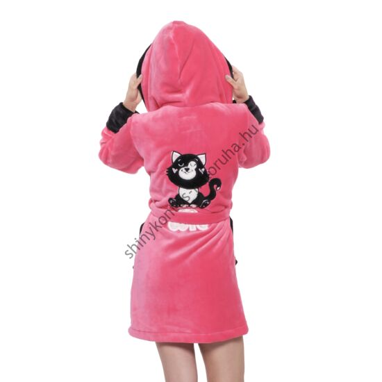 POPPY DK Cute Cica köntös - UV pink-fekete