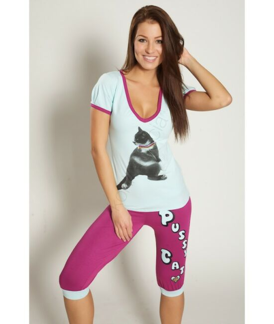 POPPY PUSSY Nice Baby 3/4-es pizsama - kék-lila