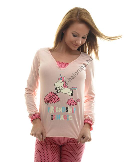 POPPY Belle UNIKORNIS pizsama barack-fekete-pink