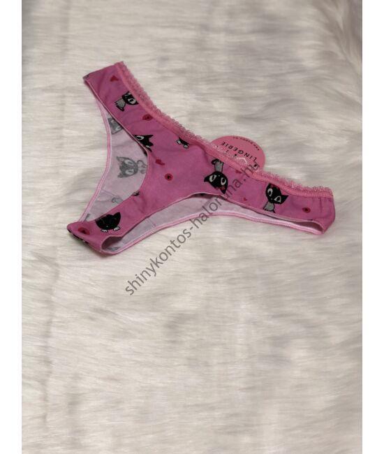 POPPY SALLY Masnis Cica mintás k.pink-fekete tanga