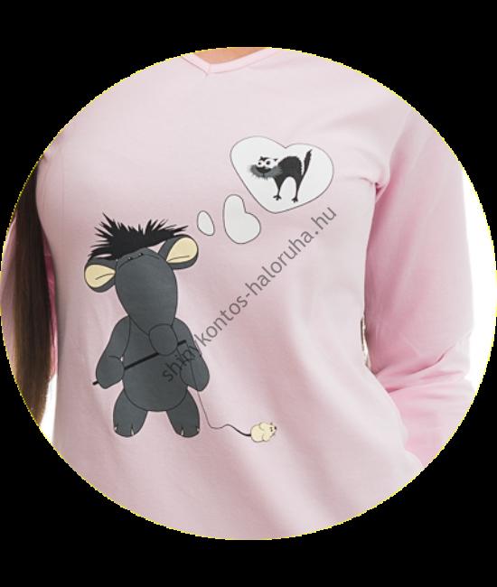 POPPY Chill Patkányos pizsama sötétszürke-rózsa