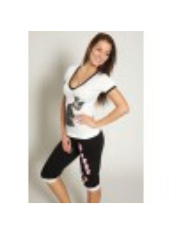 POPPY PUSSY Nice Baby 3/4-es pizsama - fehér-fekete