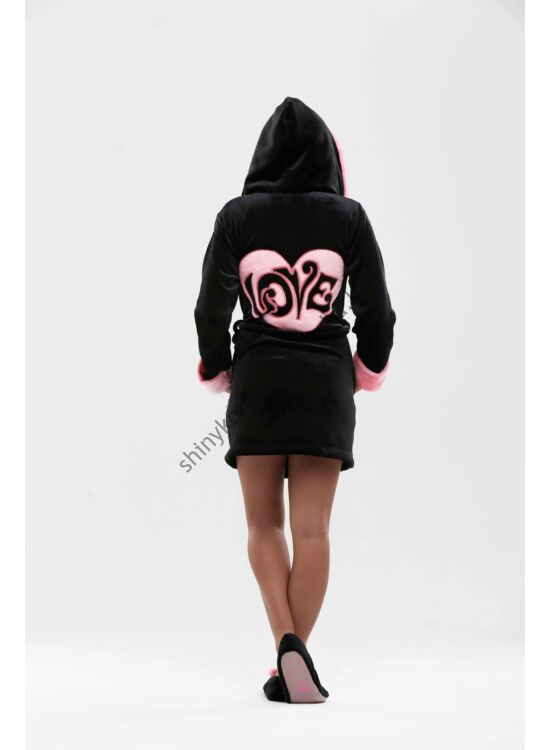 Poppy köntös LOVE SZíV fekete-pink