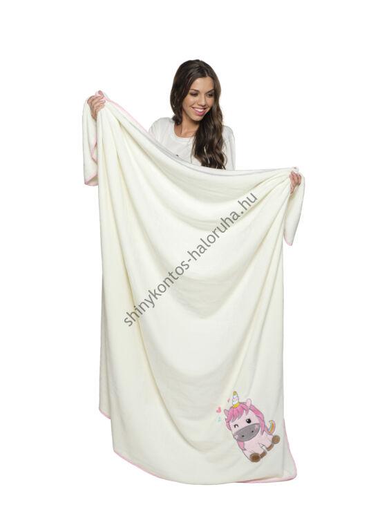 POPPY Baby Unikornis hímzett takaró - ekrü